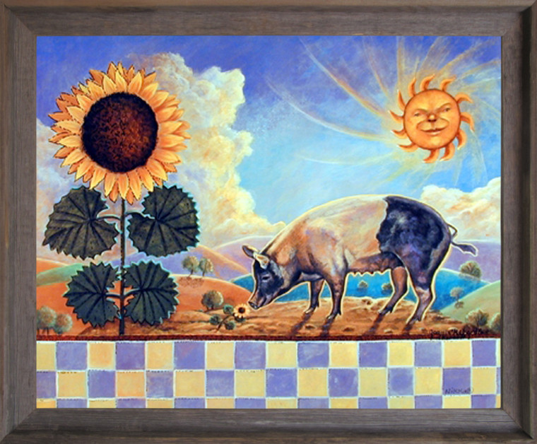 Framed Wall Decoration Country Sunflower Pig and Sun Barnwood Framed Picture Art Print (19x23)