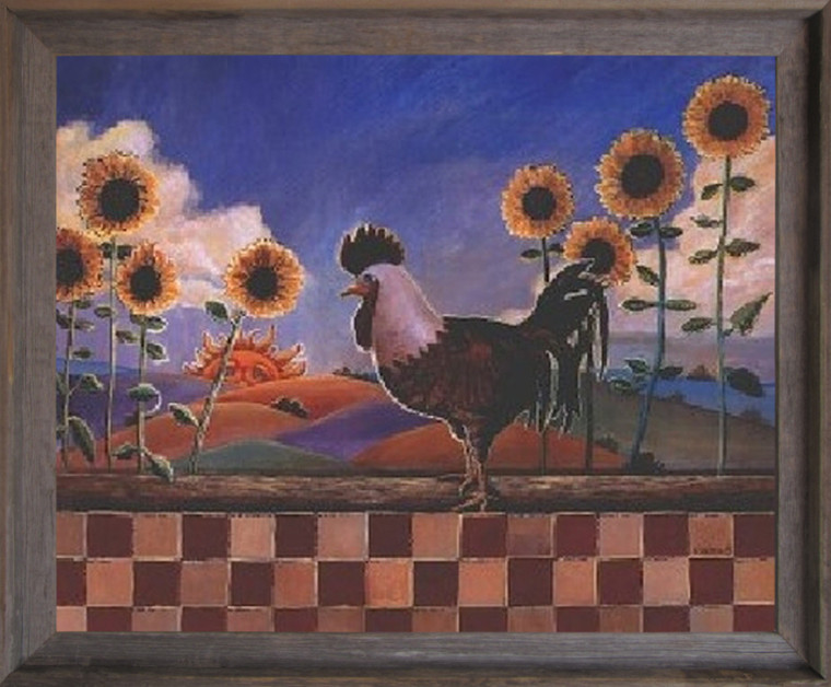 Framed Wall Decoration Country Sunflowers and Rooster Chicken Barnwood Framed Picture Art Print (19x23)