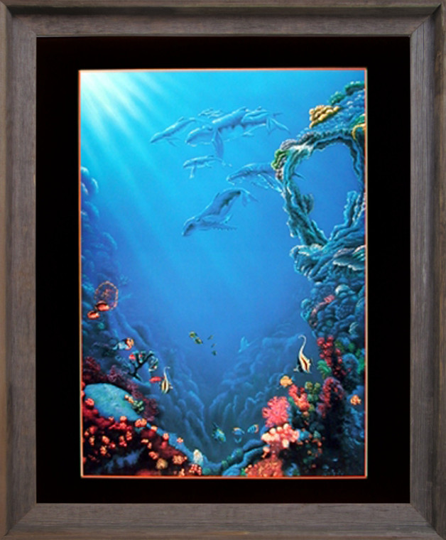 Tropical Fish and Coral Reef Underwater Ocean Sea Wall Decor Barnwood Framed Picture Art Print (19x23)