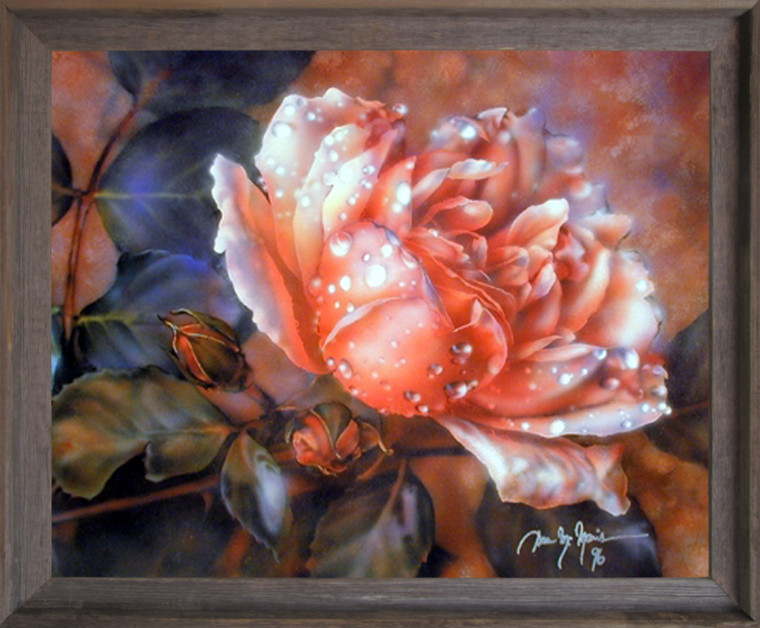Impact Posters Gallery Wild Rose Dew Flower (Dan McManis) Fine Barnwood Picture Framed Wall Decor Art Print (19x23)