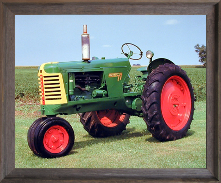 1953 Oliver 77 Row Crop Vintage Farm Tractor Wall Barnwood Framed Picture Art Print (16x20)