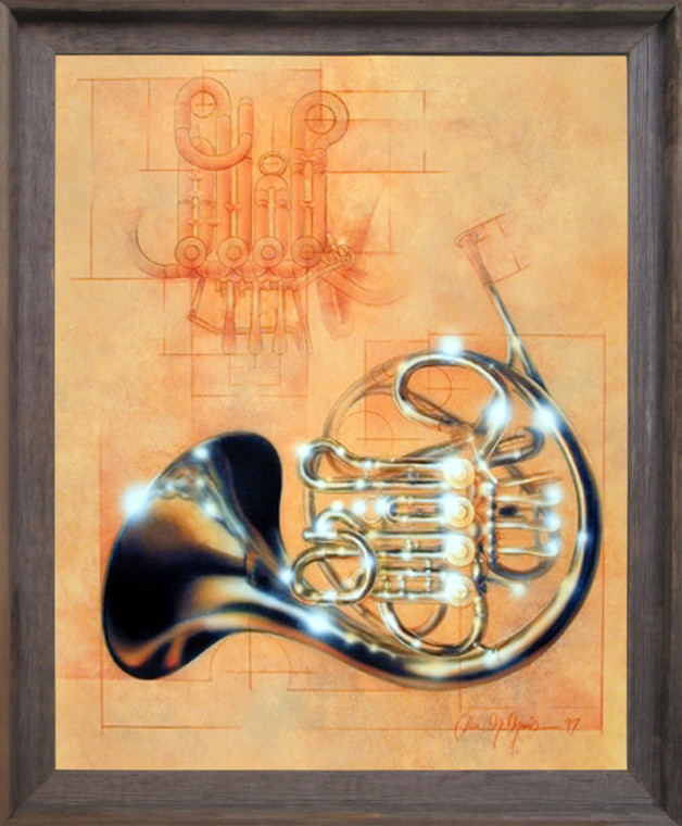 Framed Wall Decoration French Horn Musical Instrument Dan Mcmanis Barnwood Framed Picture Art Print (19x23)