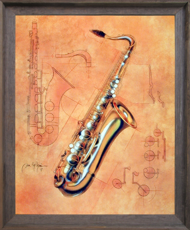 Impact Posters Gallery Fine Arts Music Instrument Saxophone Kids Room Barnwood Picture Art Print Framed Wall Decor (19x23)