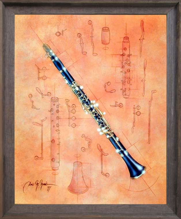 Impact Posters Gallery Fine Arts Musical Instrument Clarinet Barnwood Framed Picture Art Print Framed Wall Decor (19x23)