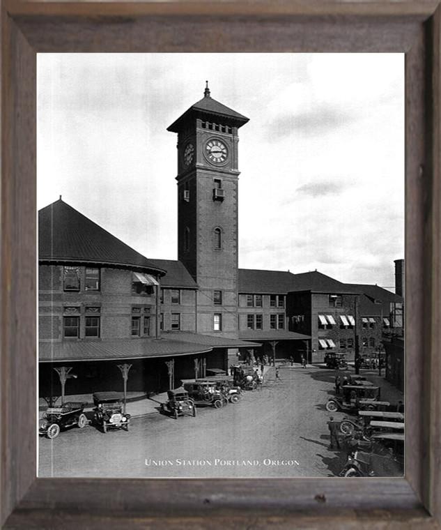 Vintage Ford Model T Car Union Station Portland, Oregon Barnwood Framed Wall Decor Art Print Picture (19x23)