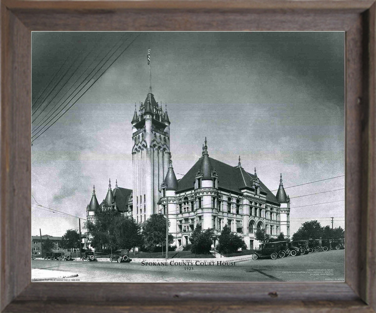 Vintage Spokane Country Court house Barnwood Framed Wall Decor Art Print Picture (19x23)