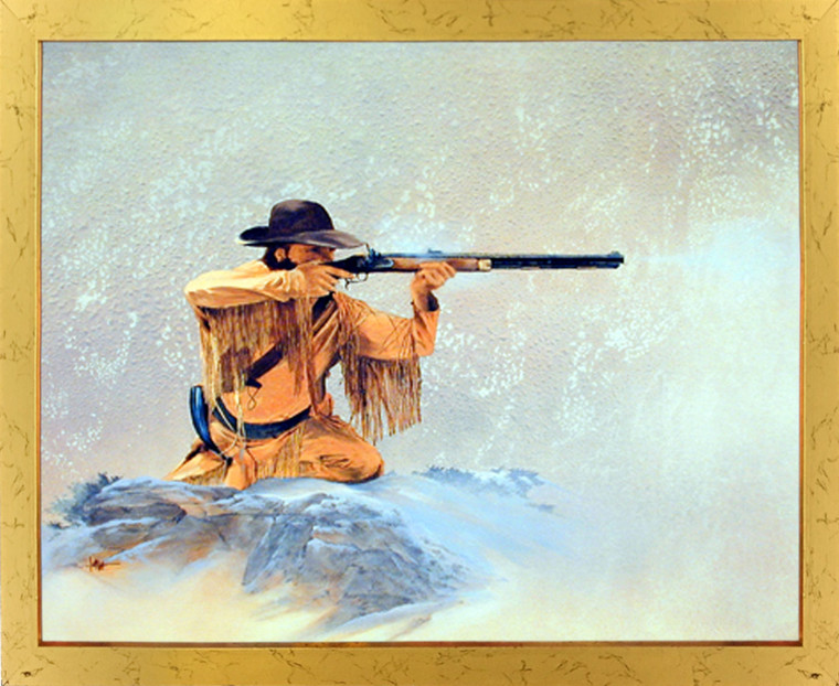 Framed Wall Decoration Picture Western Mountain Man with Rifle Hunting Golden Art Print (18x22)