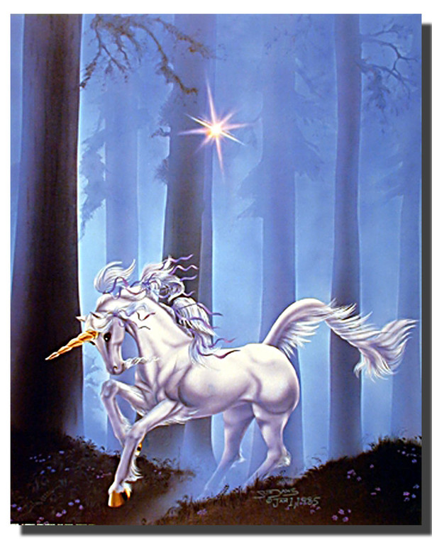 Forest Path Unicorn Poster