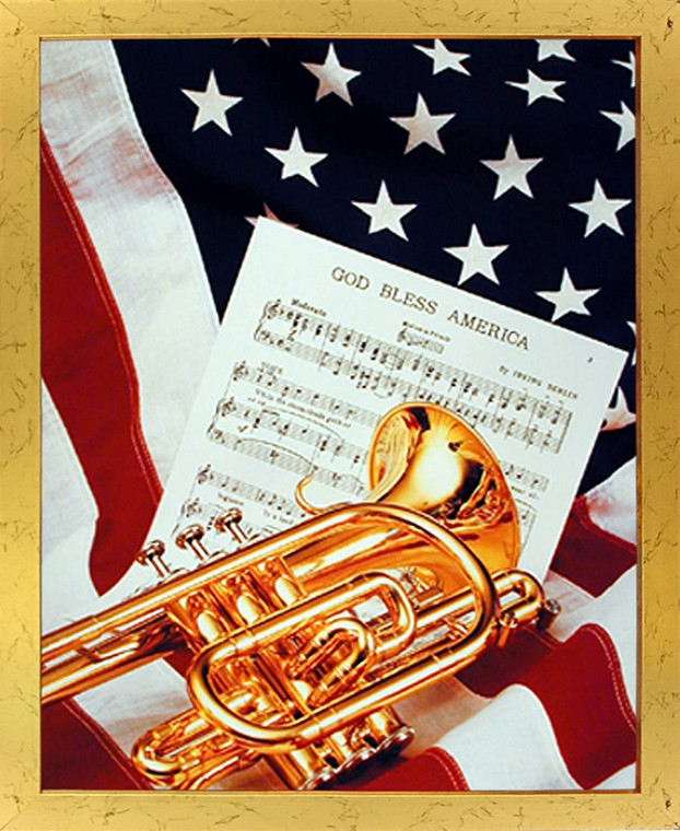 Impact Posters Gallery Picture American Trumpet Instrument & Music Sheet Lying on American Flag Patriotic Golden Art Print Framed Wall Decoration (18x22)
