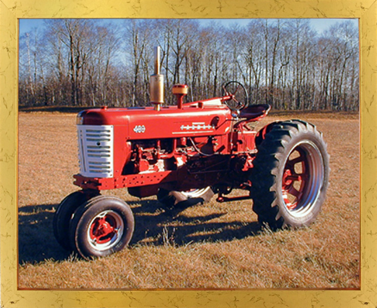 Impact Posters Gallery 1955 Red Farmall M 400 Vintage Farming Tractor Wall Golden Framed Picture Art Print (18x22)