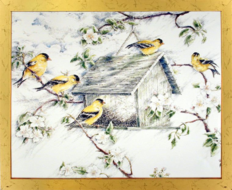 Framed Wall Decoration Gold Finches Feeder in Snow Wild Birds Golden Framed Picture Art Print (18x22)
