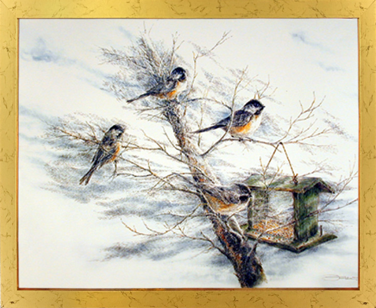 Birds House Framed Art Print Chickadee Tree Animal Wall Home Decoration Picture (18x22)