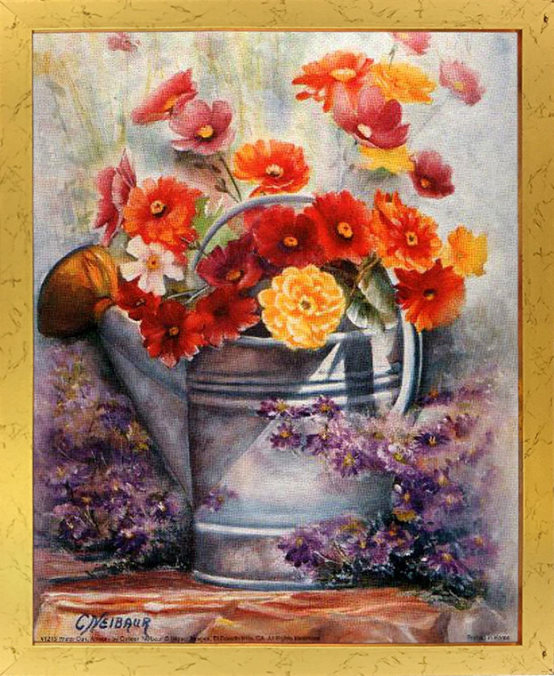 Still Life Flowers Framed Poster Wall Home Decor Water Can Fine Picture Golden Art Print (18x22)