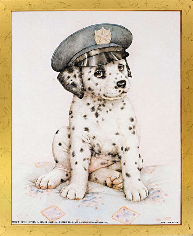 Impact Posters Gallery Cute Dalmatian Puppy Police Pup Kids Room Picture Golden Art Print Framed Wall Decor