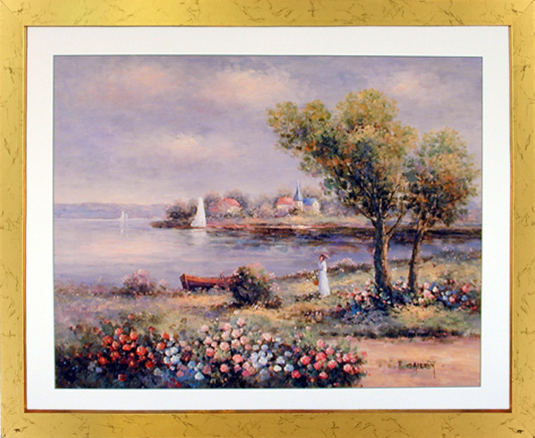 Country Cottage Lake Scenic Landscape Wall Decor Picture Golden Framed Art Print Poster (18x22)