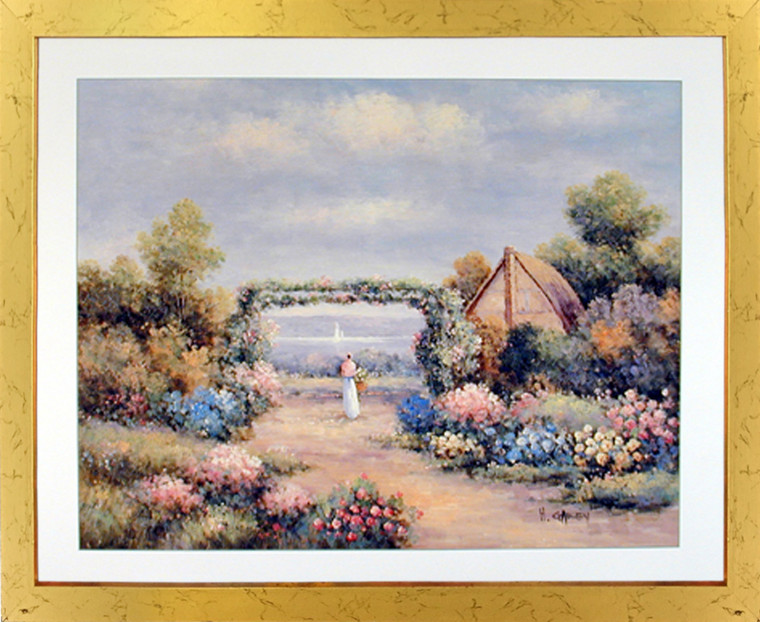 Impact Posters Gallery Country Cottage (Flower Garden) Nature Scenery Wall Decor Framed Art Print Picture
