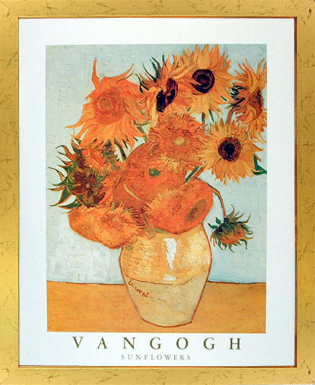 Impact Posters Gallery Sunflowers in Vase Vincent Van Gogh Floral Flower Art Print Framed Wall Decor Picture (18x22)