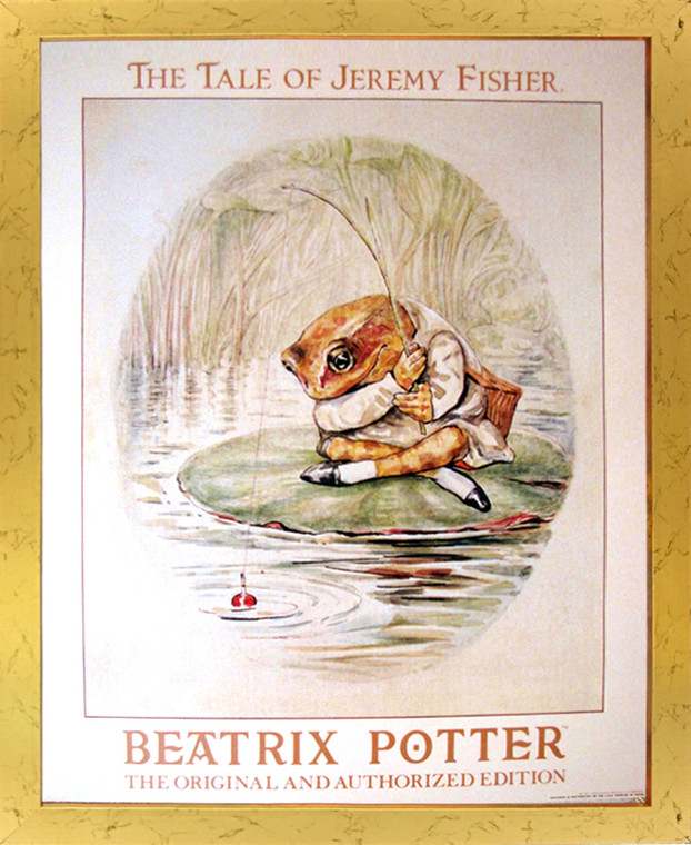 Framed Wall Picture Decor The Tale of Jeremy Beatrix Potter Golden Art Print (18x22)
