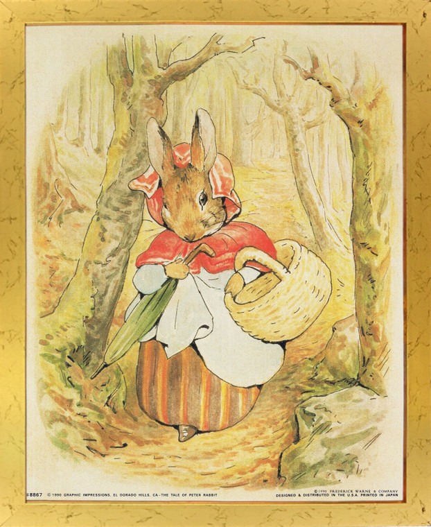 Beatrix Potter - The Tale of Peter Rabbit Kids Room Golden Wall Framed Picture Art Print (18x22)