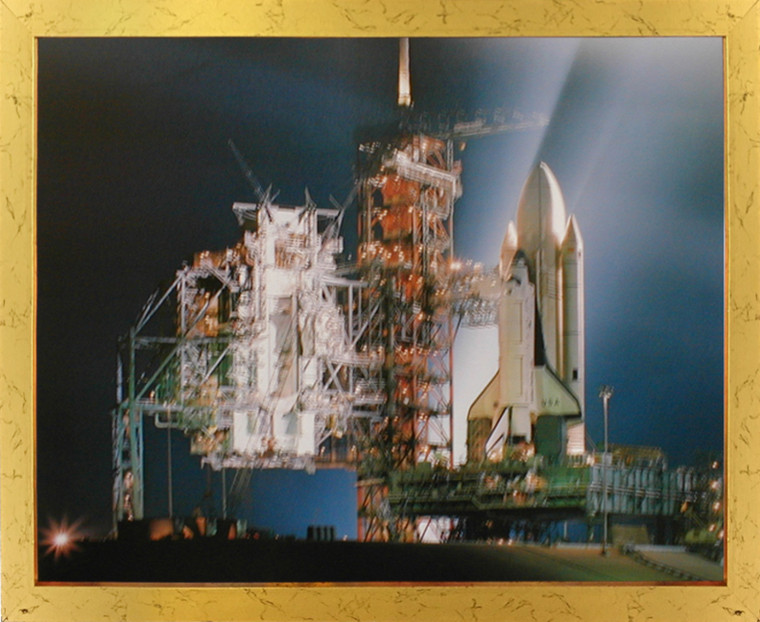 Impact Posters Gallery NASA Space Shuttle Night Launch Inspirational Golden Picture Art Print Framed Wall Decoration (18x22)