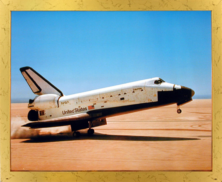 Impact Posters Gallery NASA Columbia Touching Down Space Shuttle Golden Picture Art Print Framed Wall Decor (18x22)