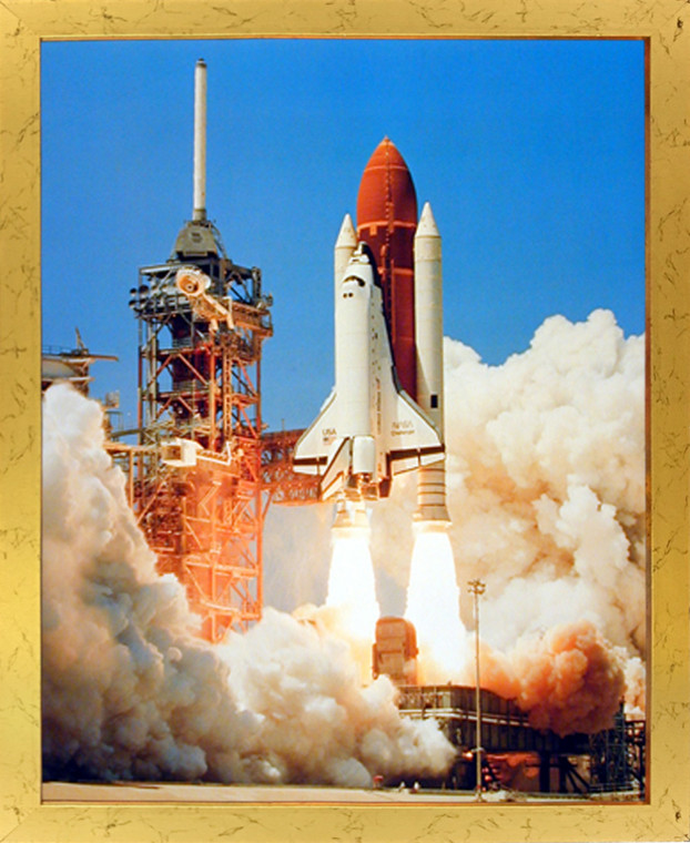 Impact Posters Gallery NASA Space Shuttle Blastoff Challenger Golden Picture Art Print Framed Wall Decor (18x22)