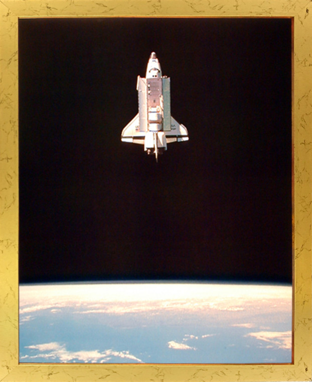 Impact Posters Gallery Space Shuttle in Space NASA Educational Golden Picture Art Print Framed Wall Decor (18x22)