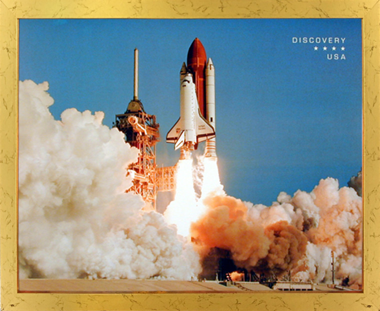 Impact Posters Gallery NASA Space Shuttle Blasting Off Golden Art Print Framed Wall Decoration (18x22)
