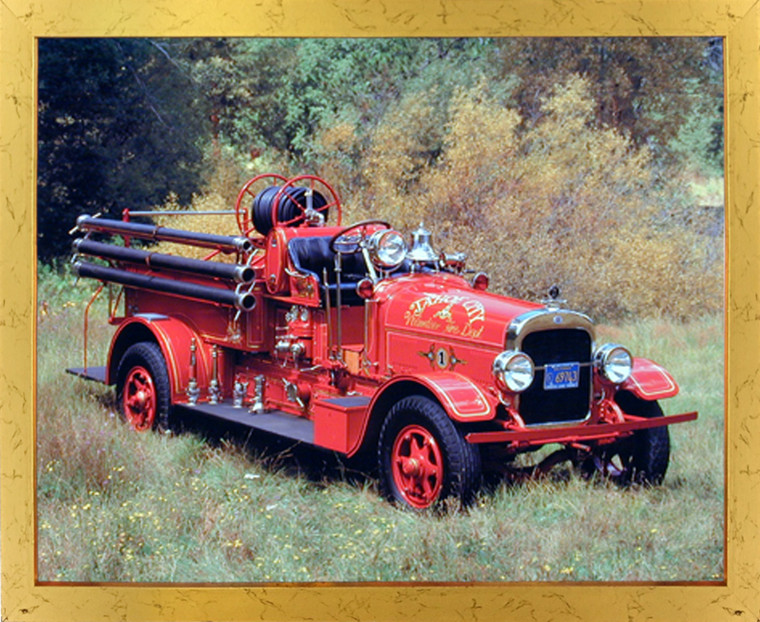 1922 Seagraves Vintage Fire Truck Engine Wall Decor Golden Framed Picture Art Print (18x22)