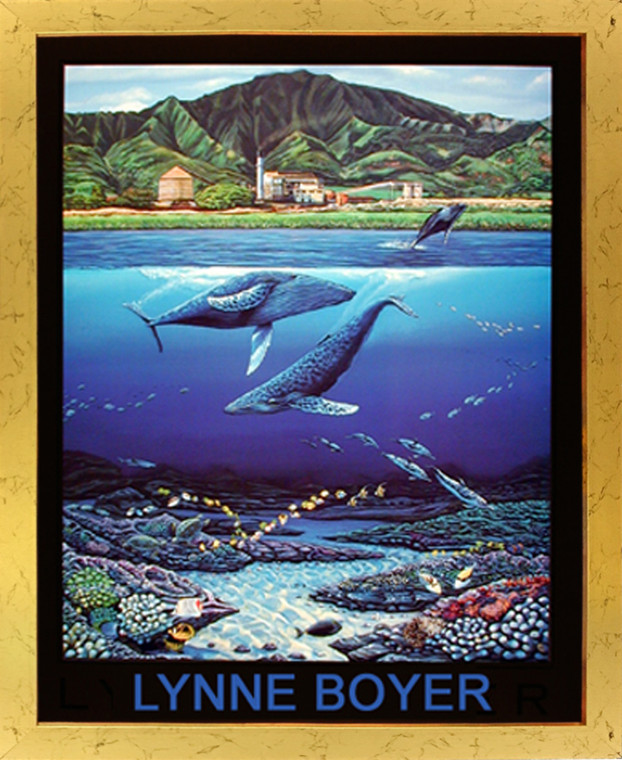 Impact Posters Gallery Tropical Whale & Dolphins Underwater Coral Reef Wall Decor Golden Framed Picture Art Print (18x22)