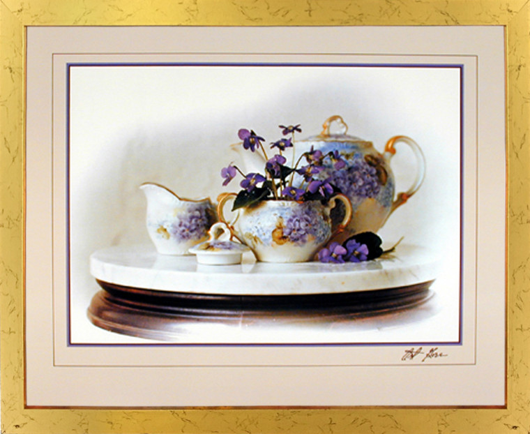Impact Posters Gallery Country Violets Flowers & Tea Pot Still Life Wall Decor Golden Framed Picture Art Print