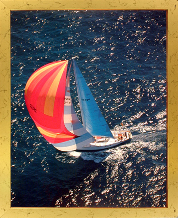 Ocean Scenic Framed Wall Bedroom Decor Sailboat Phil Wallick Boating Seascape Art Print Poster (16x20) (Golden)