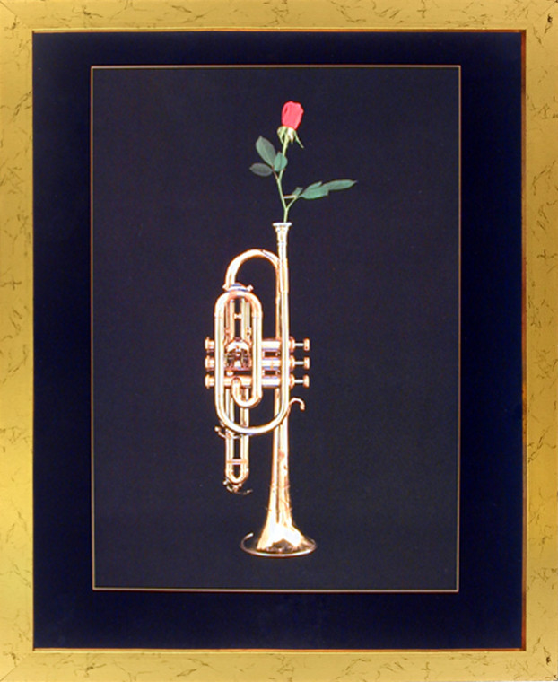 Impact Posters Gallery Trumpet with Rose Musical Instrument Wall Golden Framed Picture Art Print (18x22)