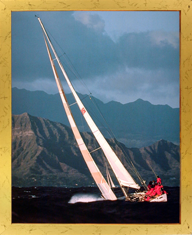 Impact Posters Gallery Sea Sailboat Tall Ship Ocean Nature Scenery Wall Decor Golden Framed Picture Art Print