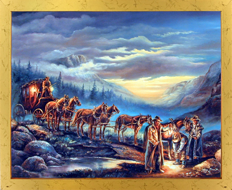 Impact Posters Gallery Western Cowboys Stagecoach with Horses (Night Scene) Wall Decor Golden Framed Picture Art Print
