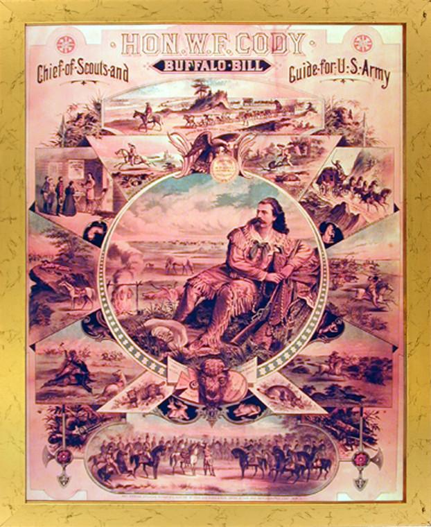 Framed Wall Decoration Edward S. Curtis Buffalo Bill Wild West Western Golden Framed Picture Art Print (18x22)