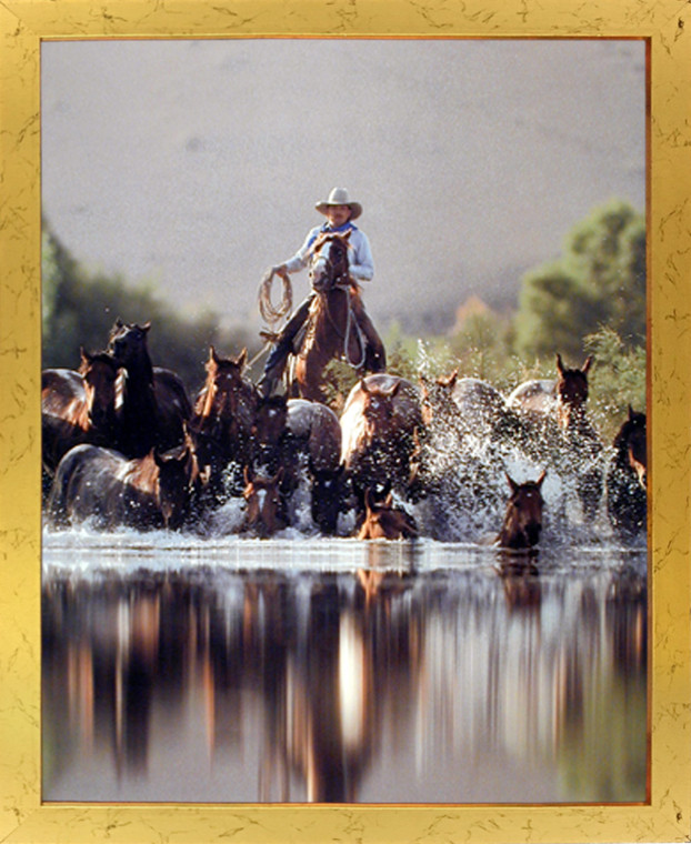 Framed Wall Decoration Cowboy Roundup Horses Old West Western Golden Framed Picture Art Print (18x22)