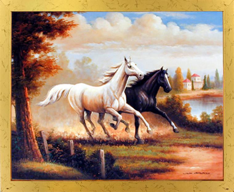 Framed Wall Decor Wild Stallion Horses Running Western Golden Framed Picture Art Print