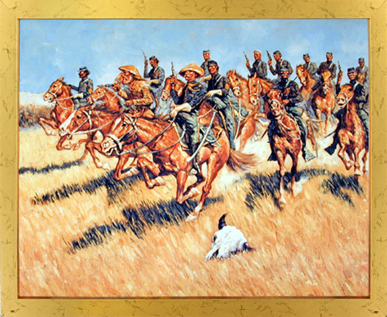 Impact Posters Gallery Western Cavalry Into Battle Wild West Wall Decor Golden Framed Picture Art Print