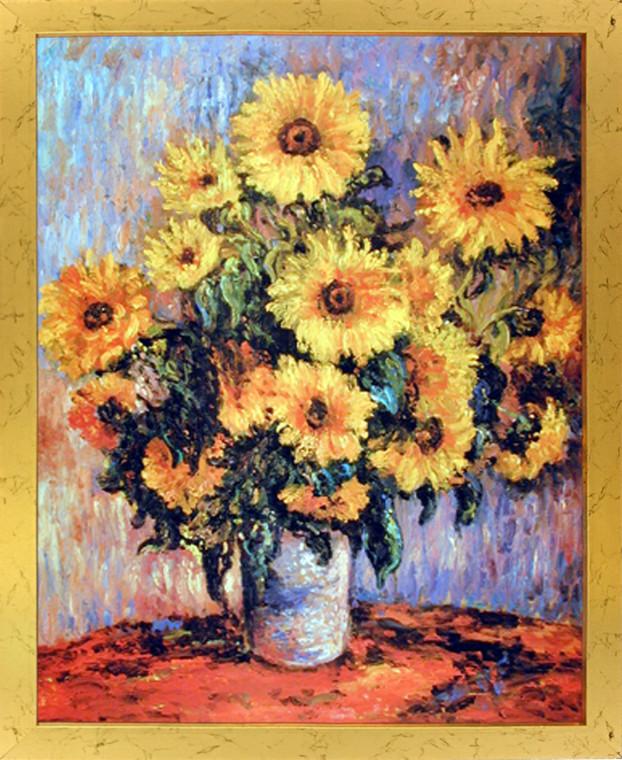 Framed Wall Decor Claude Monet Sunflowers Golden Framed Picture Art Print