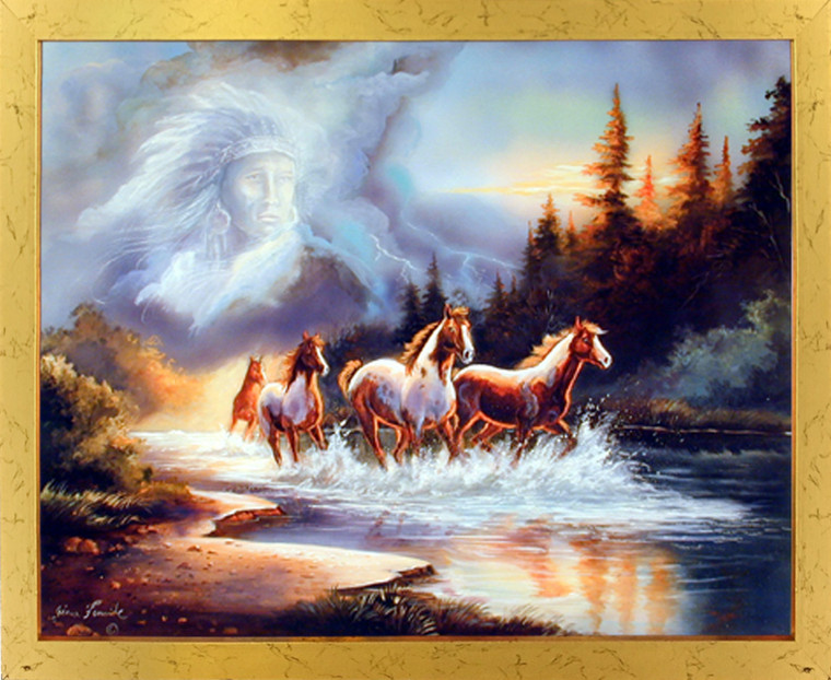 Impact Posters Gallery Horse Runs in Lake with Indian Spirit Golden Picture Art Print Framed Wall Decoration