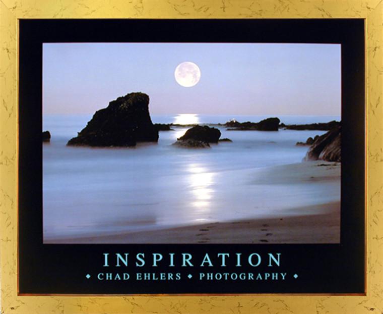 Impact Posters Gallery Laguna Beach Ocean Full Moon Inspirational Landscape Wall Decor Golden Framed Picture Art Prin