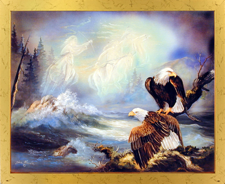 Framed Wall Decoration Native American Ghost Warriors and Eagle Golden Art Print (18x22)