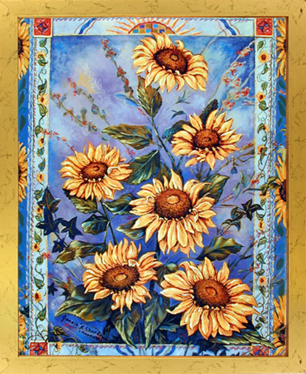Country Sunflower Floral Flower Wall Decor Framed Picture Art Print