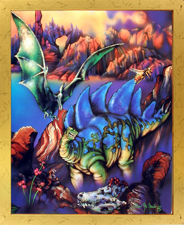 Impact Posters Gallery Dinosaurs Stegosaurus Triceratops Kids Room Animal Fantasy Picture Art Print Framed Wall Decor