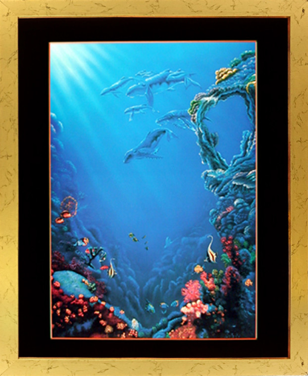 Framed Wall Decor Tropical Fish and Coral Reef Underwater Ocean Sea Golden Picture Art Print (18x22)