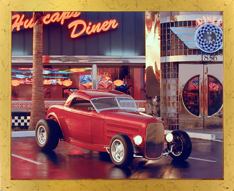 Impact Posters Gallery Framed Wall Picture Vintage Red Ford Roadster at Cafe Diner Car Golden Art Print (18x22)