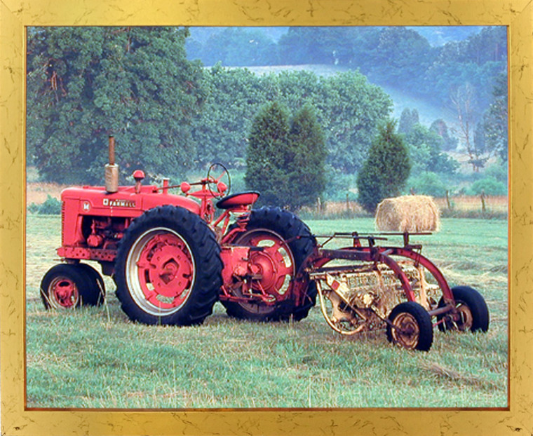 Framed Wall Picture Red Farmall M Vintage Farm Tractor Golden Art Print (18x22)