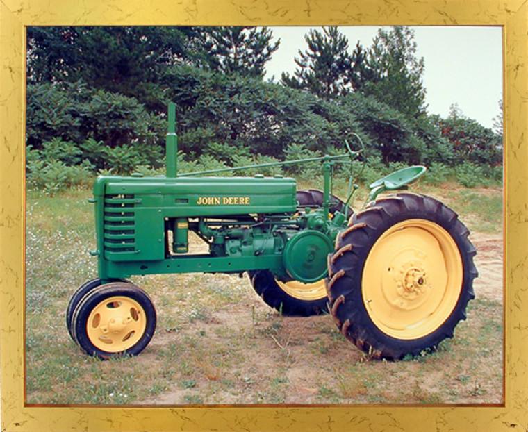 1939 John Deere Vintage Tractor Wall Golden Framed Picture Art Print