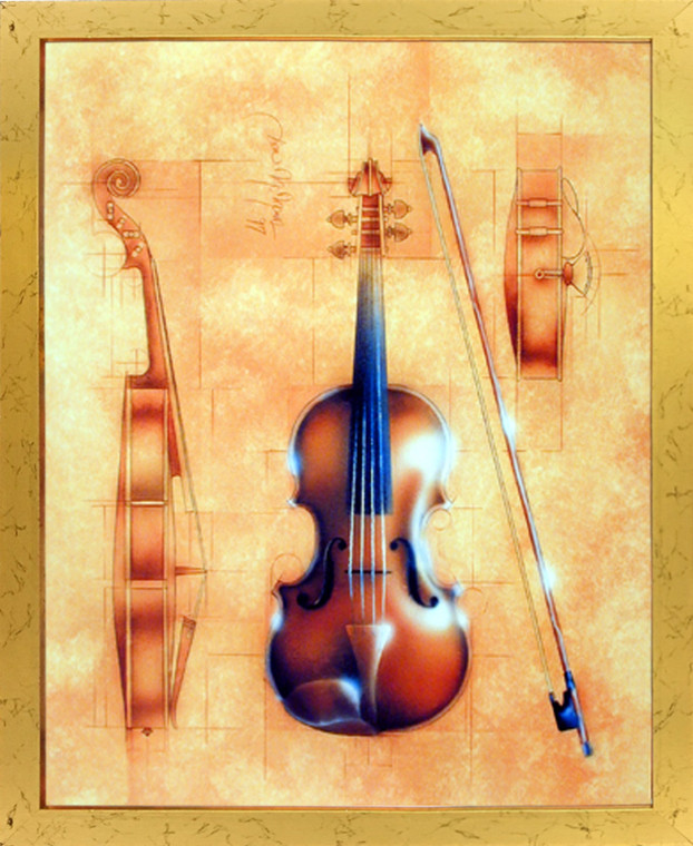 Impact Posters Gallery Violin The Fine Arts Music Instrument Motivational Golden Picture Art Print Framed Wall Decoration (18x22)
